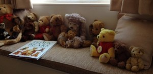 Teddy bears brought in by Sue's Tuesday afternoon group, provide inspiration for poetry, fiction and memoir.
